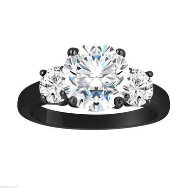 Moissanite Three-Stone Engagement Ring, Moissanite Wedding Ring, Vintage Style 14k Black Gold 2.28 Carat Certified Handmade