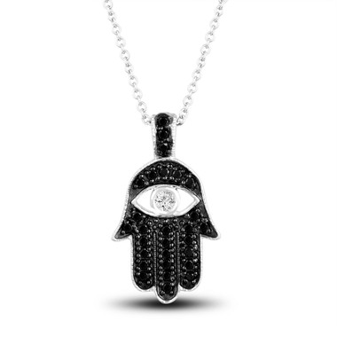 Black Diamond Hamsa Pendant Necklace, Evil Eye Pendant, 0.36 Carat 14K White Gold Unique Certified Handmade Pave