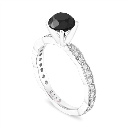 Black Diamond Engagement Ring, 14k White Gold or Yellow Gold or Rose Gold 1.63 Carat Pave Unique Handmade Certified