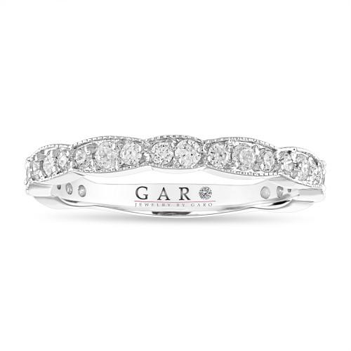 0.54 Carat Platinum Diamond Wedding Band, Half Eternity Diamond Wedding Ring, Anniversary Ring, Stackable Pave Certified Handmade Unique