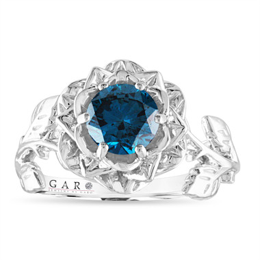 Rose Flower Blue Diamond Engagement Ring, Solitaire Unique 1.01 Carat 14K White Gold, Rose Gold, Yellow Gold Handmade Certified