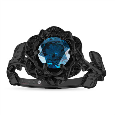 Rose Flower Blue Diamond Engagement Ring, Solitaire Unique 1.01 Carat 14K Black Gold Vintage Style Handmade Certified