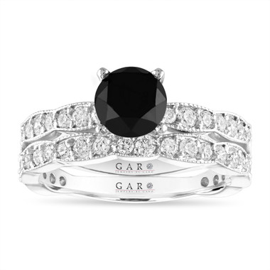 Black Diamond Engagement Ring Sets, 14k White Gold or Rose Gold or Yellow Gold, 2.17 Carat Unique Handmade Certified