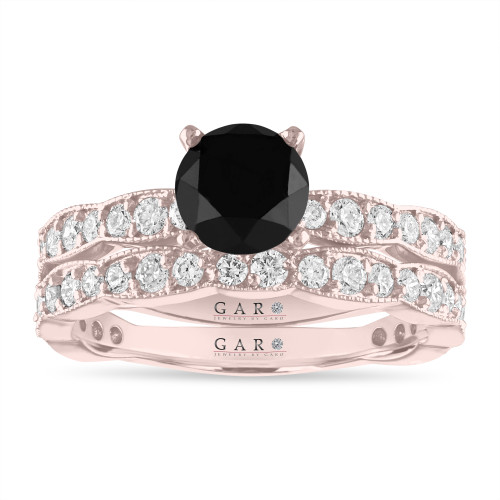 Black Diamond Engagement Ring Sets, 18K Rose Gold or White or Yellow Gold or Black Gold, 2.17 Carat Unique Handmade Certified