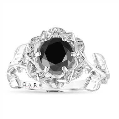 1.20 Carat Black Diamond Engagement Ring, Rose Flower Ring, Floral Vintage Unique 14K White, Rose, Yellow Gold Handmade Certified