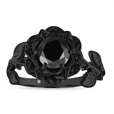 1.20 Carat Black Diamond Engagement Ring, Rose Flower Ring, Floral Vintage Unique 14K Black Gold Handmade Certified