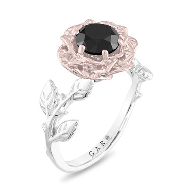 1.50 Carat Black Diamond Engagement Ring, Rose Flower Ring, Floral Vintage Unique 14K Rose, White, Yellow Gold Handmade Certified