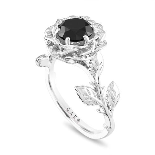 Platinum Black Diamond Engagement Ring, Rose Flower Wedding Ring, 1.50 Carat Floral Anniversary Ring, Vintage Unique Handmade Certified