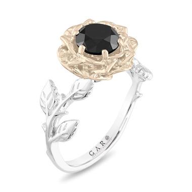 1.50 Carat Black Diamond Engagement Ring, Rose Flower Ring, Floral Vintage Unique 18K Rose, White, Yellow Gold Handmade Certified