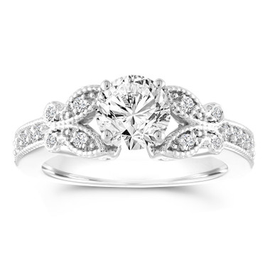 Platinum Butterfly Diamond Engagement Ring, Gia Certified 1.18 Carat Pave Bridal Ring Handmade Unique