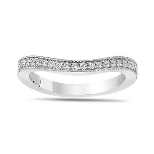 Platinum Diamond Curve Wedding Band 0.18 Carat Handmade Pave