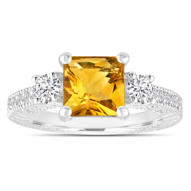 Citrine & Diamonds Engagement Ring, Princess Cut Vintage Scroll Unique 1.78 Carat 14K White Gold Handmade