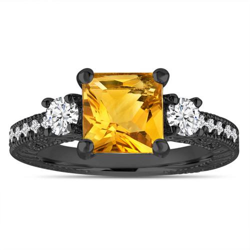 Citrine & Diamonds Engagement Ring, Princess Cut Vintage Scroll Unique 1.78 Carat 14K Black Gold Handmade