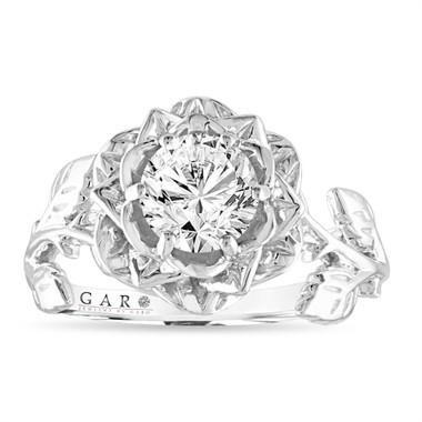 Rose Flower Diamond Engagement Ring, Floral Anniversary ring 1.01 Carat , GIA Certified 14K White, Rose, Yellow Gold Handmade