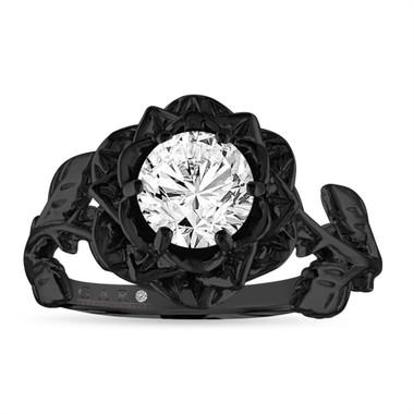Rose Flower Diamond Engagement Ring, Floral Anniversary ring 1.01 Carat , GIA Certified 14K Black Handmade
