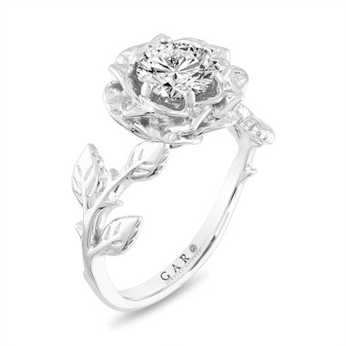 Platinum Rose Flower Diamond Engagement Ring, Floral Anniversary ring, Solitaire Unique Wedding Ring, 1.01 Carat GIA Certified Handmade