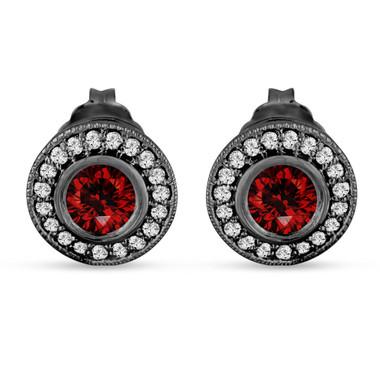 Red Diamond Earrings, Fancy Red Diamonds Halo Earrings, Vintage Diamond Earrings 14K Black Gold 0.90 Carat Handmade Unique