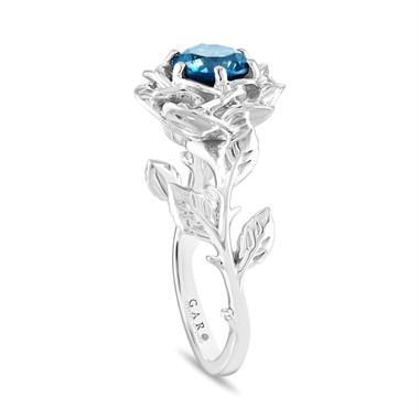 VS2 1.20 Carat Blue Diamond Solitaire Engagement Ring, Rose Flower Floral Unique Platinum Certified Handmade