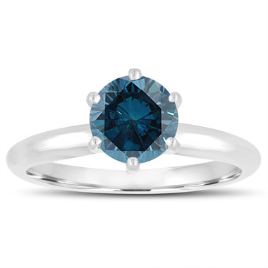 VS2 1.00 Carat Blue Diamond Solitaire Engagement Ring 14K White Gold Handmade Certified