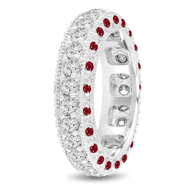 Ruby and Diamond Eternity Wedding Ring, Mens Diamond Wedding Band, 6 mm Vintage Unique 14K White Gold 2.50 Carat