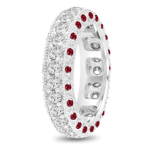 Ruby and Diamond Eternity Wedding Ring, Mens Diamond Wedding Band, 6 mm Vintage Unique Platinum 2.50 Carat