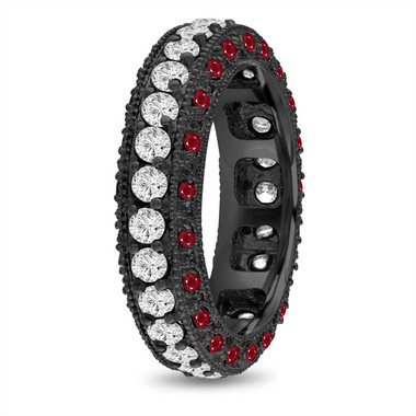 Ruby and Diamond Eternity Wedding Ring, Mens Diamond Wedding Band, 6 mm Vintage Unique Black Gold 2.50 Carat