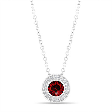 Red Diamond Pendant Necklace 14K White Gold  Vintage Style 0.50 Carat Halo Bezel And Micro Pave Handmade