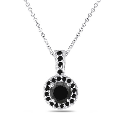 Platinum Black Diamond Pendant, Black Diamond Necklace, Halo Pendant Necklace, 1.25 Carat Handmade