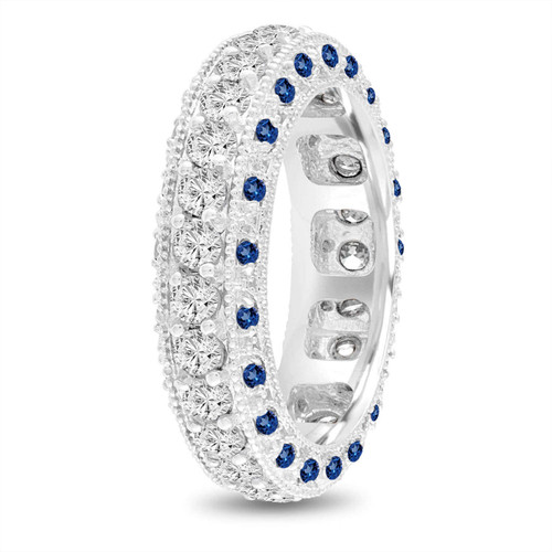 Sapphire and Diamond Eternity Wedding Band, Mens Diamond Wedding Ring, 6 mm Vintage Unique Platinum 2.50 Carat