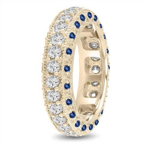 Sapphire and Diamond Eternity Wedding Band, Mens Diamond Wedding Ring, 6 mm Vintage Unique 14K Yellow Gold 2.50 Carat