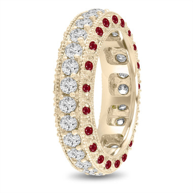 Ruby and Diamond Eternity Wedding Ring, Mens Diamond Wedding Band, 6 mm Vintage Unique 14K Yellow Gold 2.50 Carat