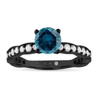Vintage 1.50 Carat Blue Diamond Engagement Ring, 14K Black Gold Vintage Style VS2 Pave Unique Handmade Certified