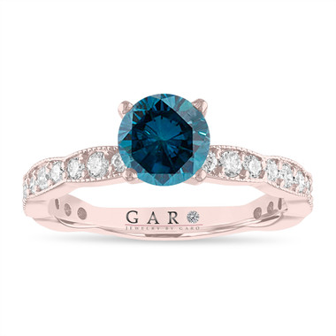 Blue Diamond Engagement Ring, 1.50 Carat 14k White Gold or Yellow Gold, Rose Gold Pave Unique Handmade Certified