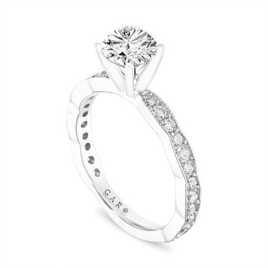 1.00 Carat Diamond Engagement Ring Vintage, Certified Platinum Pave Unique Handmade