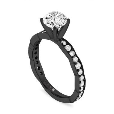 1.00 Carat Diamond Engagement Ring Vintage, Certified 14k Black Gold Pave Unique Handmade