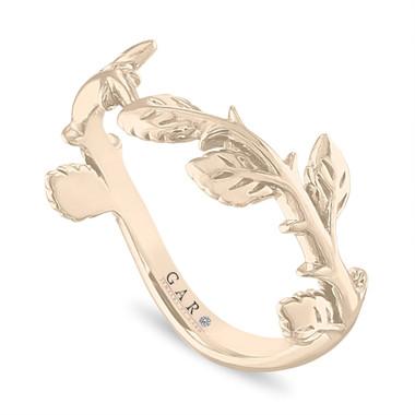 Leaf Wedding Band, Floral Wedding Ring, Filigree Anniversary Ring, 14K White Gold Rose Gold, Yellow Gold Handmade