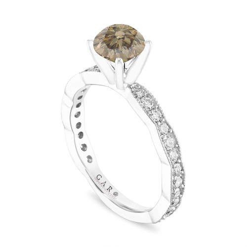 Champagne Diamond Engagement Ring, 1.50 Carat Platinum Pave Unique Handmade Certified