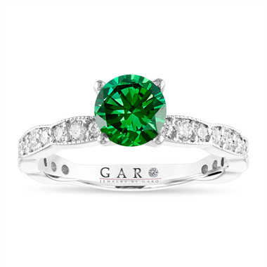 Green Diamond Engagement Ring, 1.50 Carat 14k White Gold Pave Unique Handmade Certified
