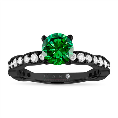 Green Diamond Engagement Ring, 1.50 Carat 14k Black Gold Pave Unique Handmade Certified
