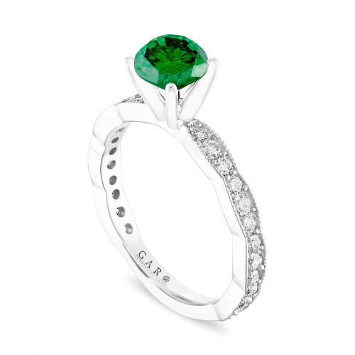 Green Diamond Engagement Ring, 1.50 Carat Platinum Pave Unique Handmade Certified