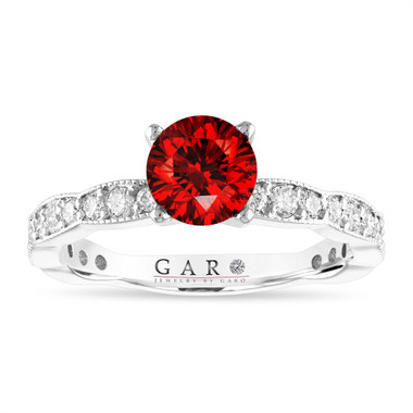 1.50 Carat Red Diamond Engagement Ring, 14K White Gold, Pave Unique Handmade Certified