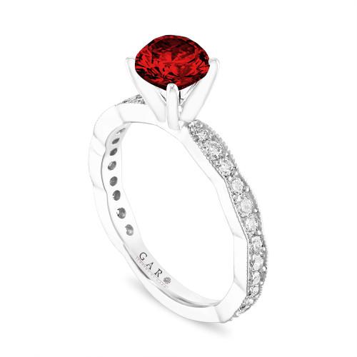 1.50 Carat Red Diamond Engagement Ring, Platinum Pave Unique Handmade Certified