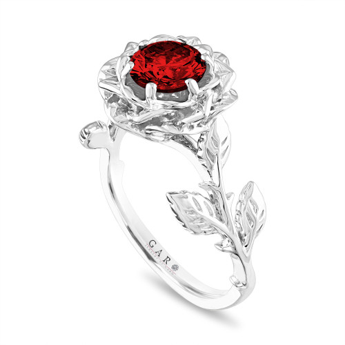 Red Diamond Floral Engagement Ring, Rose Flower Solitaire Ring, Unique 1.01 Carat Platinum Certified