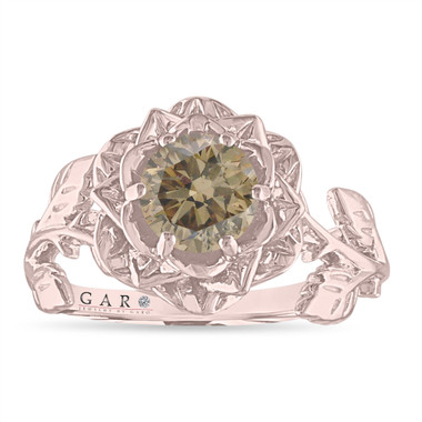 Champagne Diamond Floral Engagement Ring, Rose Flower Bridal Ring, Unique 1.01 Carat 14K Rose Gold or White Gold Handmade