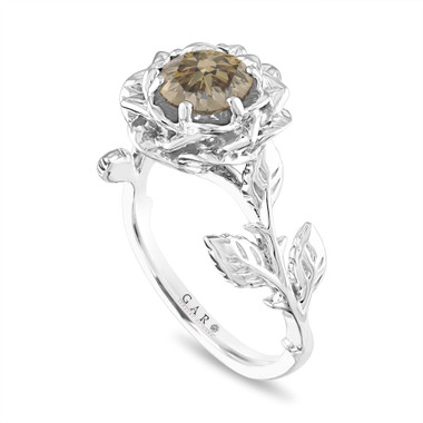 Champagne Diamond Floral Engagement Ring, Rose Flower Bridal Ring, Unique 1.01 Carat Platinum Handmade
