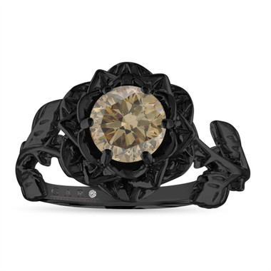 Champagne Diamond Floral Engagement Ring, Rose Flower Bridal Ring, Unique 1.01 Carat 14K Black Gold Handmade