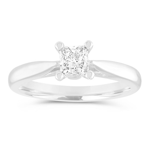 D Color Flawless Princess Cut Diamond Engagement Ring, 0.50 Carat Platinum Solitaire Bridal Ring, GIA Certified Handmade