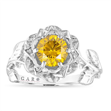 Yellow Diamond Flower Engagement Ring, Rose Floral Solitaire Ring, Unique 1.01 Carat 14K White Gold Certified