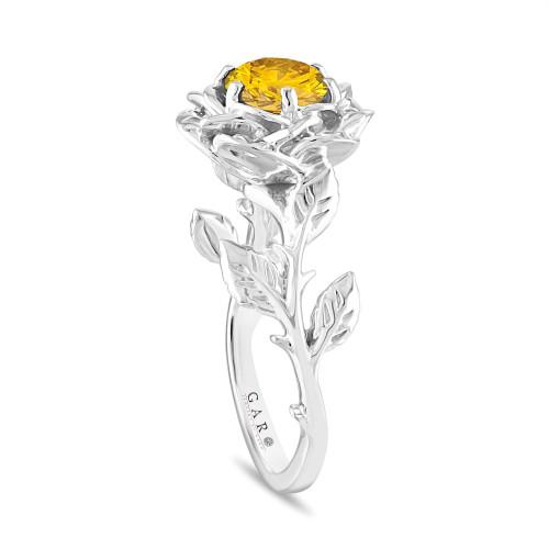 Yellow Diamond Flower Engagement Ring, Rose Floral Solitaire Ring Unique, Platinum 1.01 Carat Certified