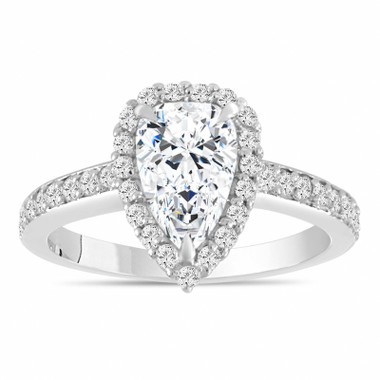 Pear Shaped Moissanite Engagement Ring, 1.75 Carat Halo Bridal Ring, 14k White Gold Unique Handmade Certified